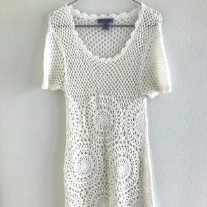 Olivia Sky Crochet Dress White Size Large
